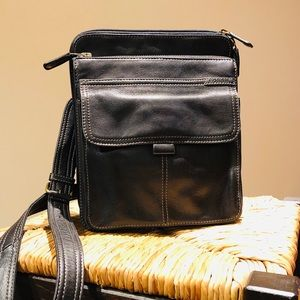 Fossil Travel Crossbody Organizer Black Leather
